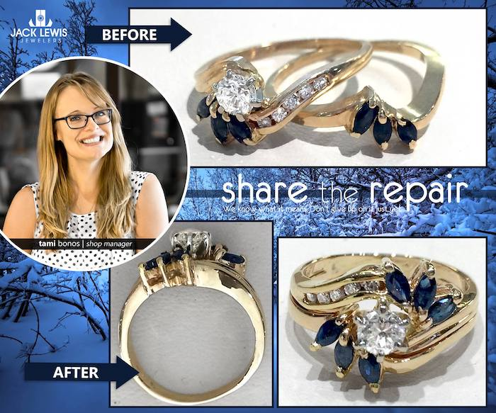 before and after jewelry repair of a diamond and sapphire wedding ring set whose channels and settings were too thin to keep holding the stones in place. the result was strengthened, reset, and soldered together to last into the future