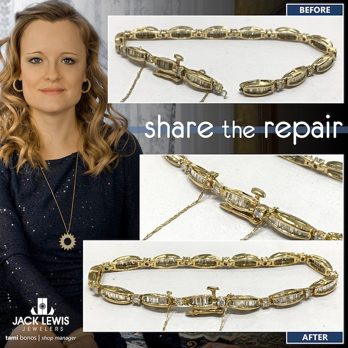before and after jewelry repair of a bracelet with broken links