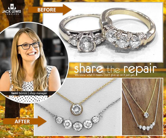 before and after jewelry repair turning two rings into two pendant necklaces