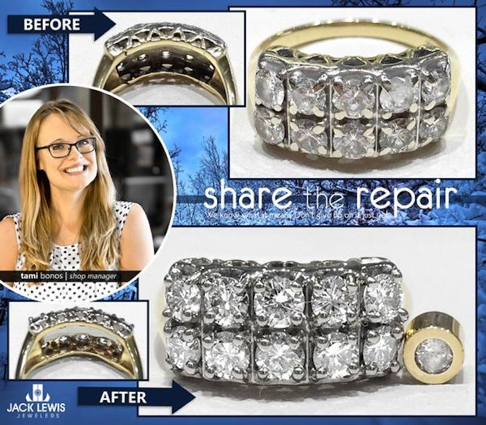 before and after jewelry repair of grandmother's ring turned into a ring and pendant