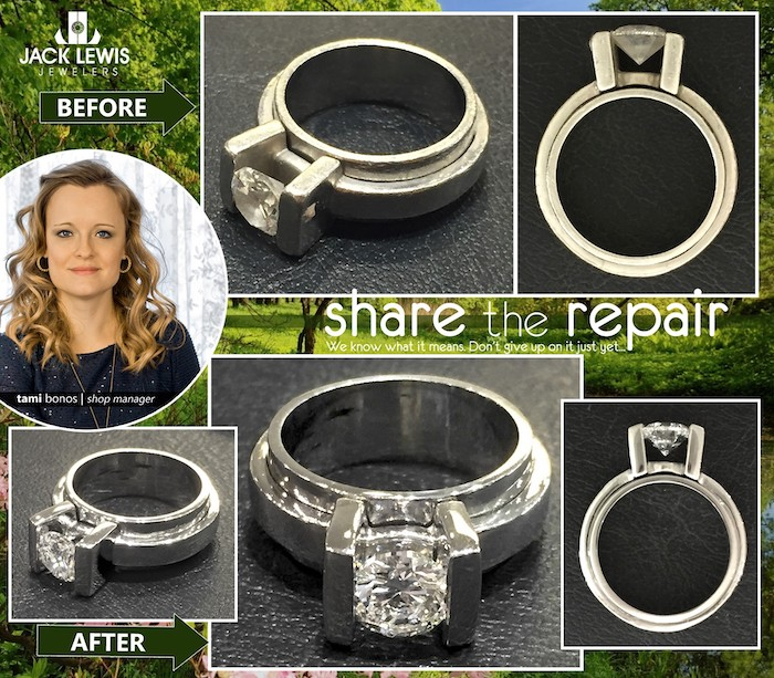 before and after of a custom platinum diamond engagement ring that needed to be polished and the top of the bars strengthened.