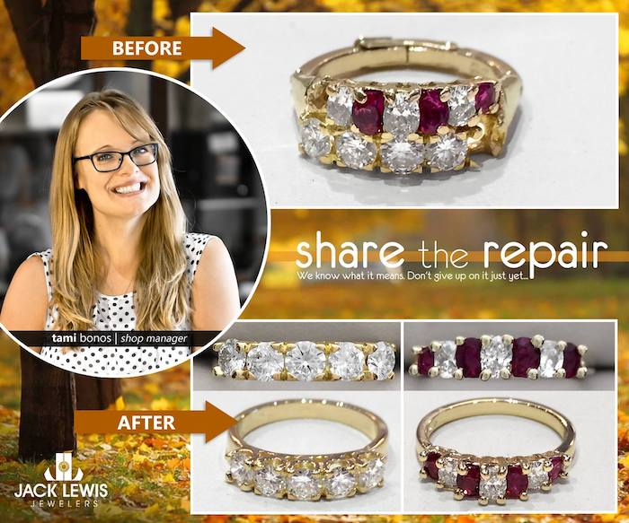 before and after jewelry repair to separate a soldered diamond and garnet ring set in order to pass them down to the next generation