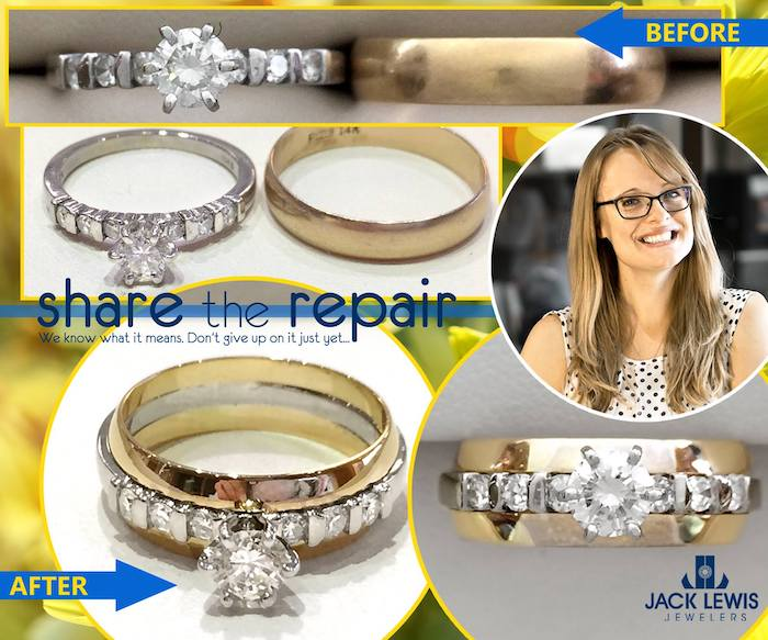 before and after jewelry repair to combine her mom's engagement ring and dad's wedding band into one new ring