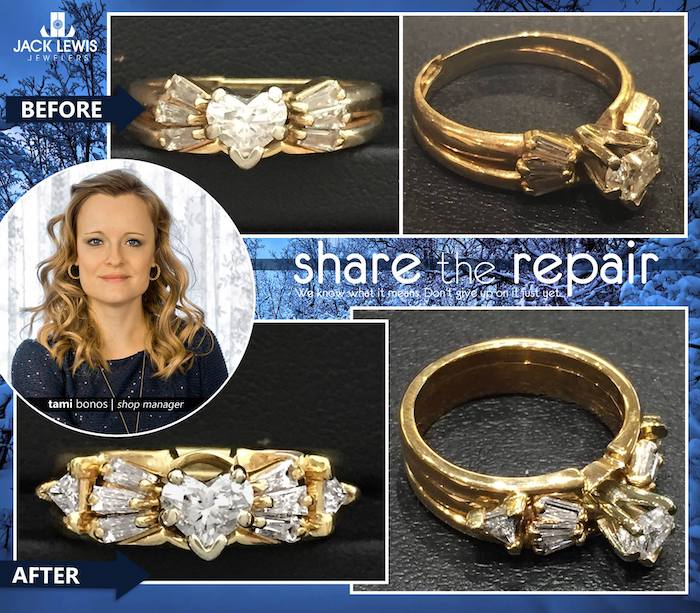 before and after jewelry repair to add diamonds to a cracked wedding ring set