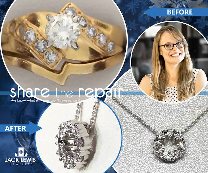 before and after jewelry repair that transformed diamonds from her grandmother's ring into a new and unique pendant for a necklace