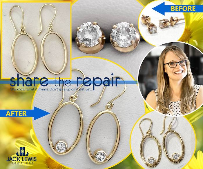 before and after custom jewelry that combined diamond stud earrings and gold hoop earrings into one new beautifuly unique pair