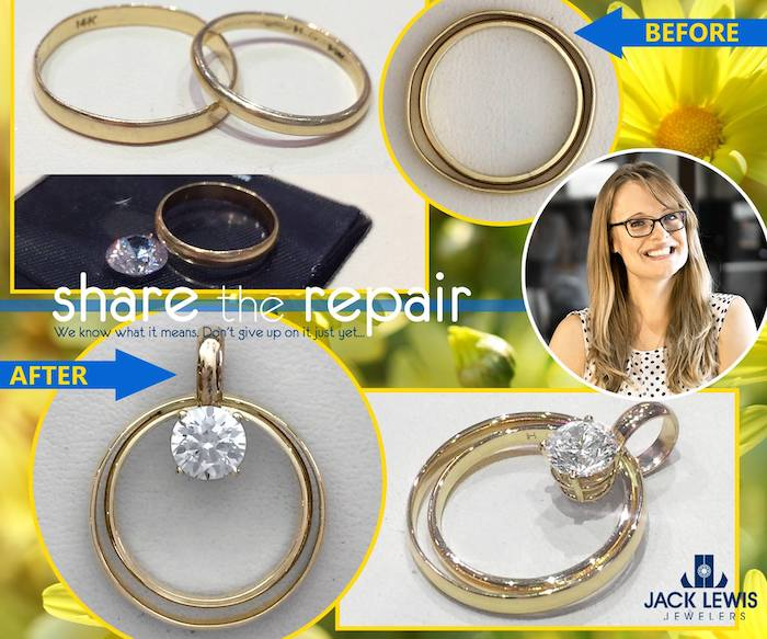 before and after jewelry store of how three gold bands and one loose stone turned into and amazingly meaningful pendant representing her mother, her mother and her childhood
