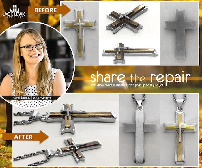 before and after jewelry repair of a sterling silver cross pendant that lost its jump ring and needed some clever jewelry engineering to solder on a new one