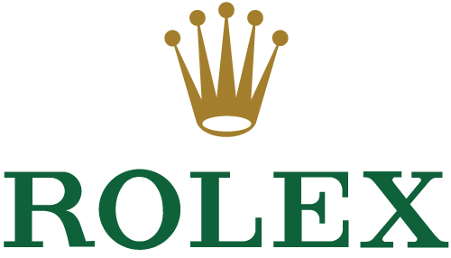 Logo for Rolex displays a gold crown on top of green capital letters that spell ROLEX