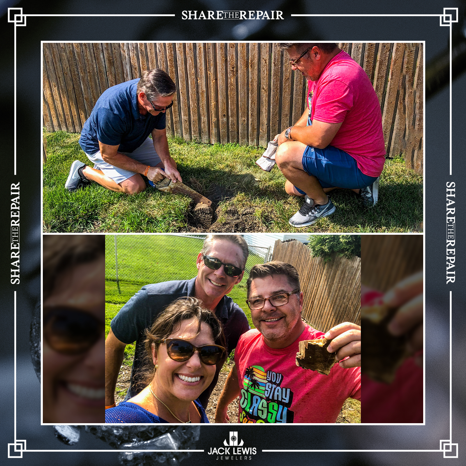 images of the customer and current homeowner in the backyard removing part of the tree to make the cufflinks