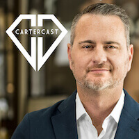 Headshot of CEO John Carter next to the CarterCast logo for his online program that teaches you about diamonds.