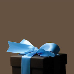 brown box wrapped with a blue bow