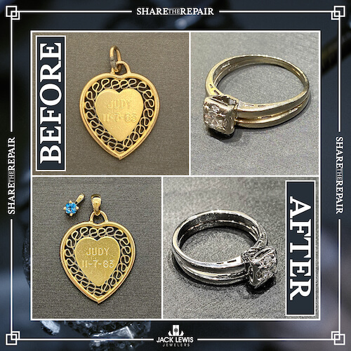 before and after image of a pendant and diamond engagement ring