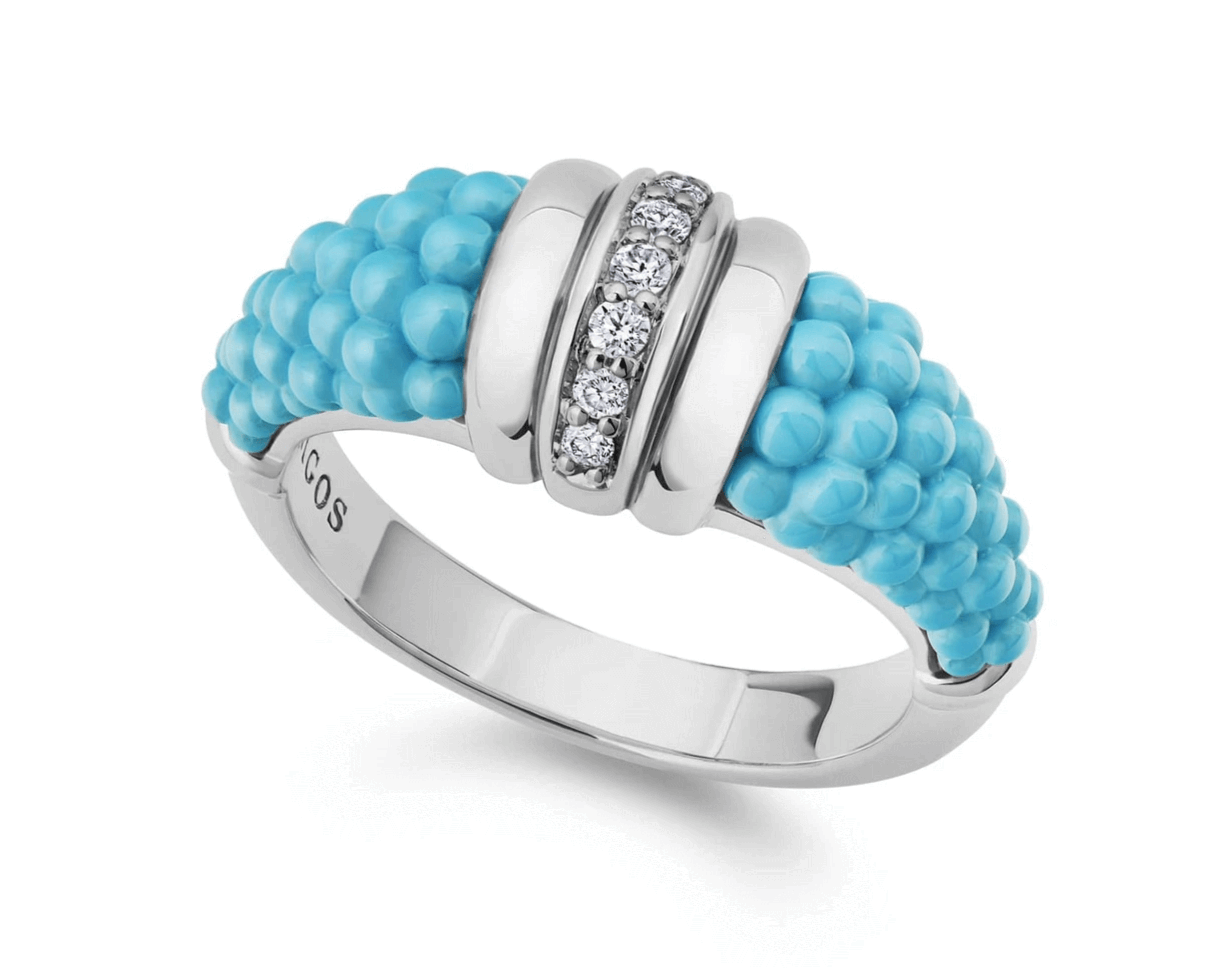 Lagos Blue Caviar fashion ring with sterling silver and diamonds