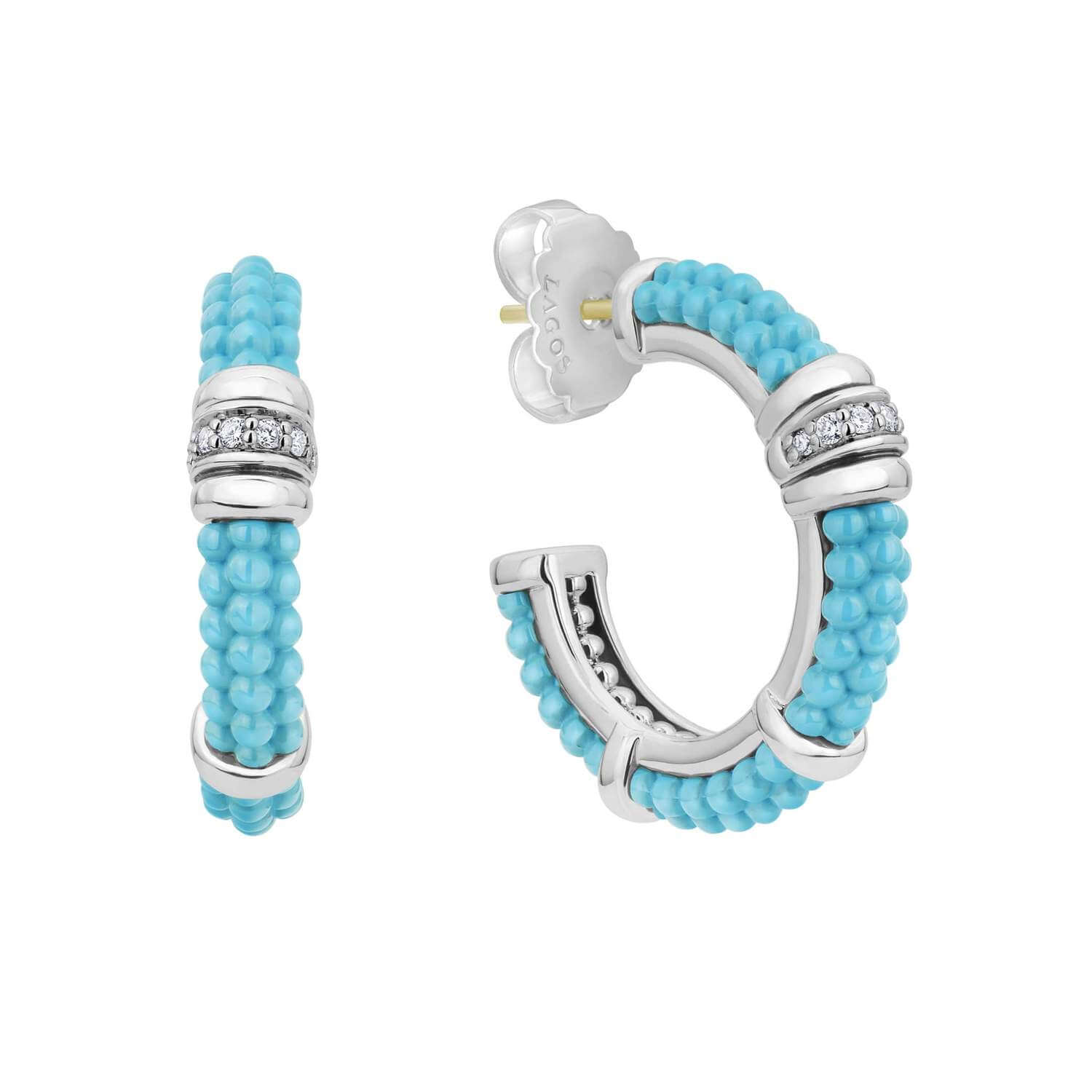 Lago Blue Caviar Hoop earrings with sterling silver and diamonds