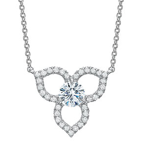 white diamond pendant in the shape of three leaves that are open in the center of leaf, with diamonds along the edges