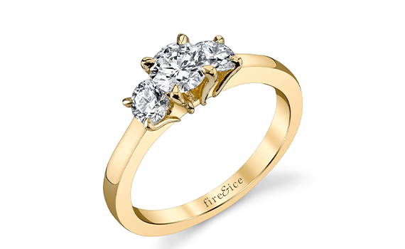 3 stone diamond engagement ring in yellow gold with all round ideal cut diamonds