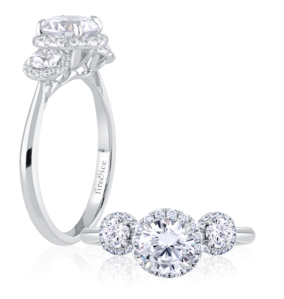 3 stone diamond engagement ring in white gold with all round ideal cut diamonds