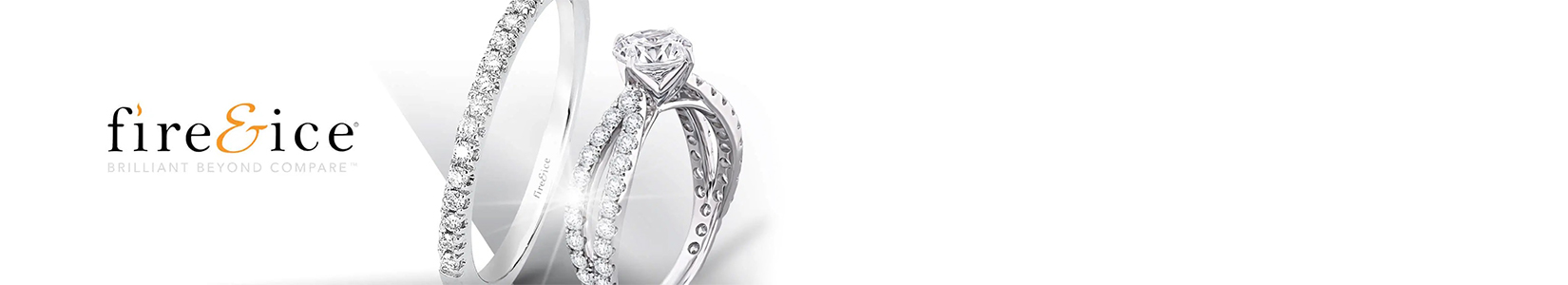 white gold diamond ring with the brand name Fire and Ice
