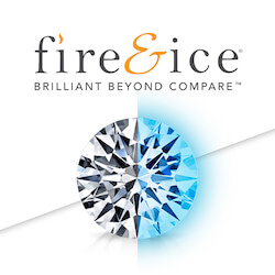zoomed in brilliant round diamond below the words Fire and Ice brilliant beyond compare. Half of the diamond has a blue hue to communicate the word ice from their brand name