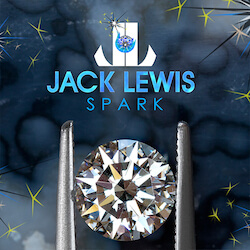 zoomed in brilliant round diamond held with tweezers below the Jack Lewis Spark logo with various shades of light, royal, and dark blue in the background and yellow sparks like sparklers