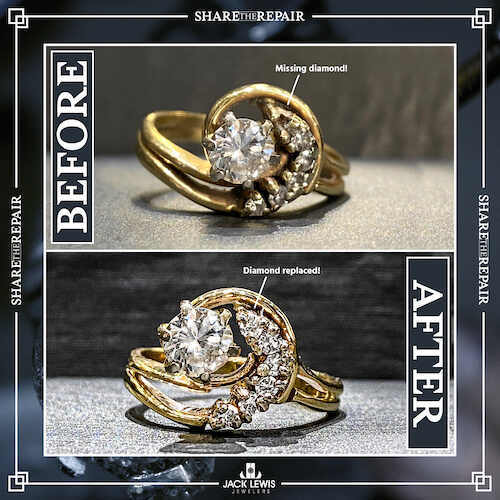 before and after image of a ring that was missing a diamond and needed to be polished