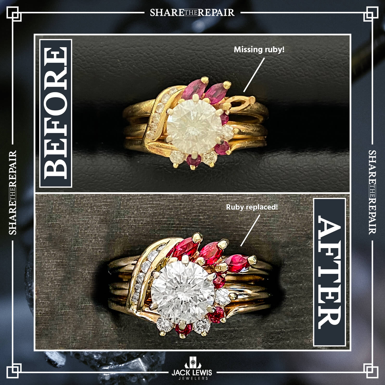before and after picture of a yellow gold ring with a round diamond in the middle and rubies surrounding it. before a ruby is missing and ring is discolored.