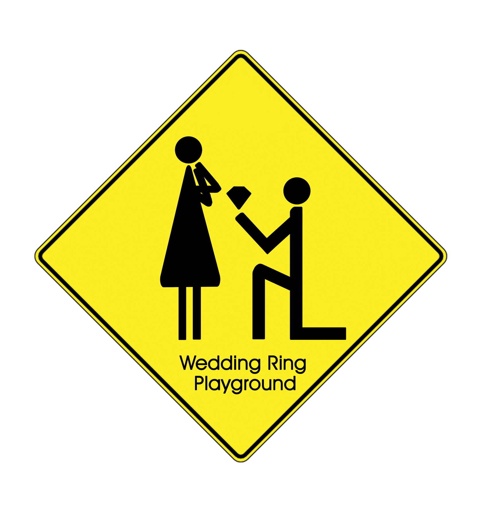 yellow road sign graphic with stick figure images of someone down on one knee proposing