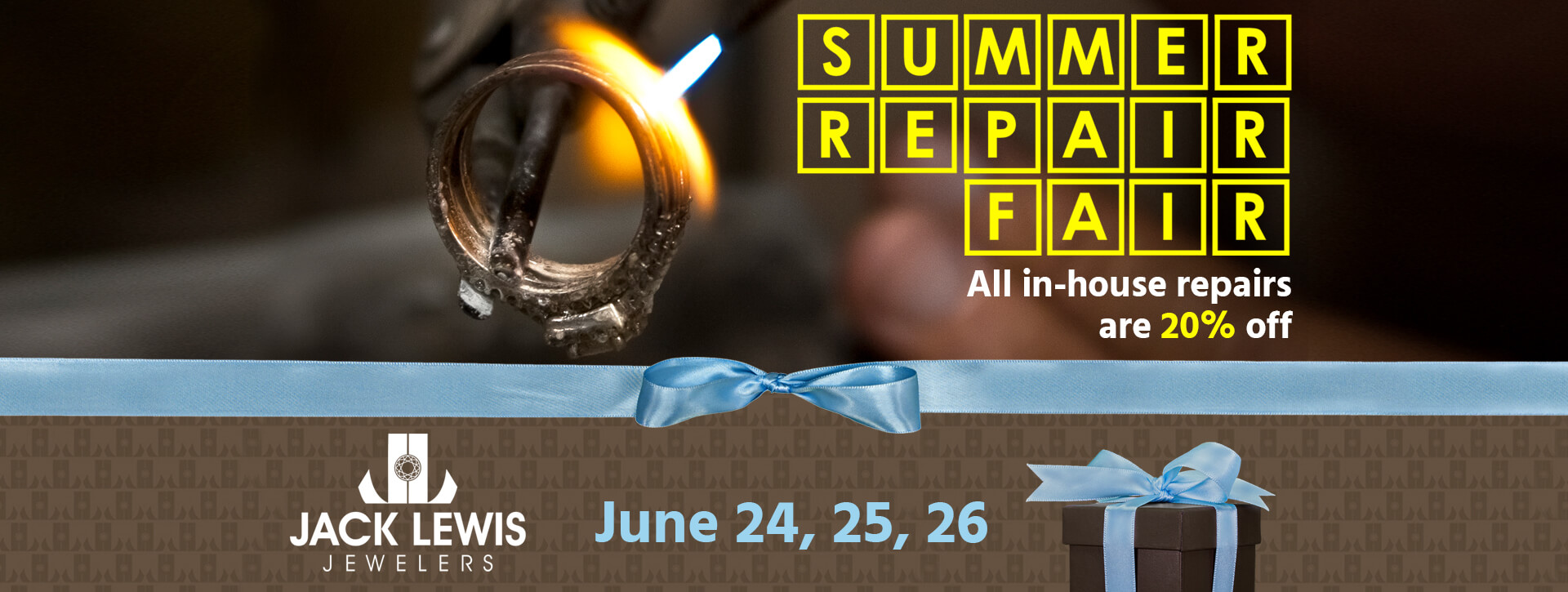 A ring being held with tweezers and heated up with a small flame to be repaired. Text overlay reads Summer Repair Fair All in-house repairs are 20% off June 24, 25, 26