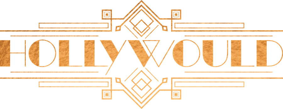 Gold foiled logo of the word Hollywould