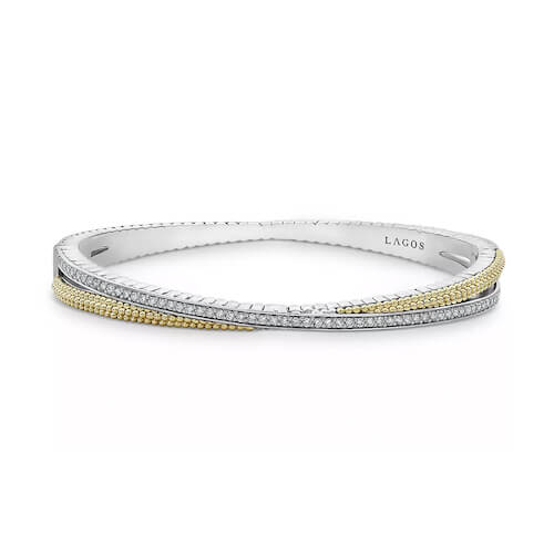 Close up product shot of a LAGOS silver and gold caviar bracelet