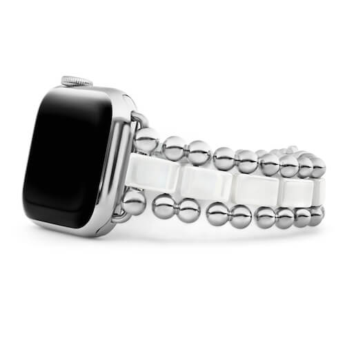 Close up product shot of a LAGO silver caviar band for an Apple iWatch.