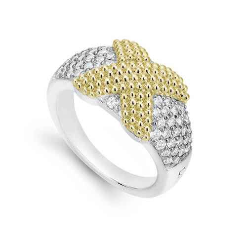 Close up product shot of a LAGOS silver and gold caviar ring