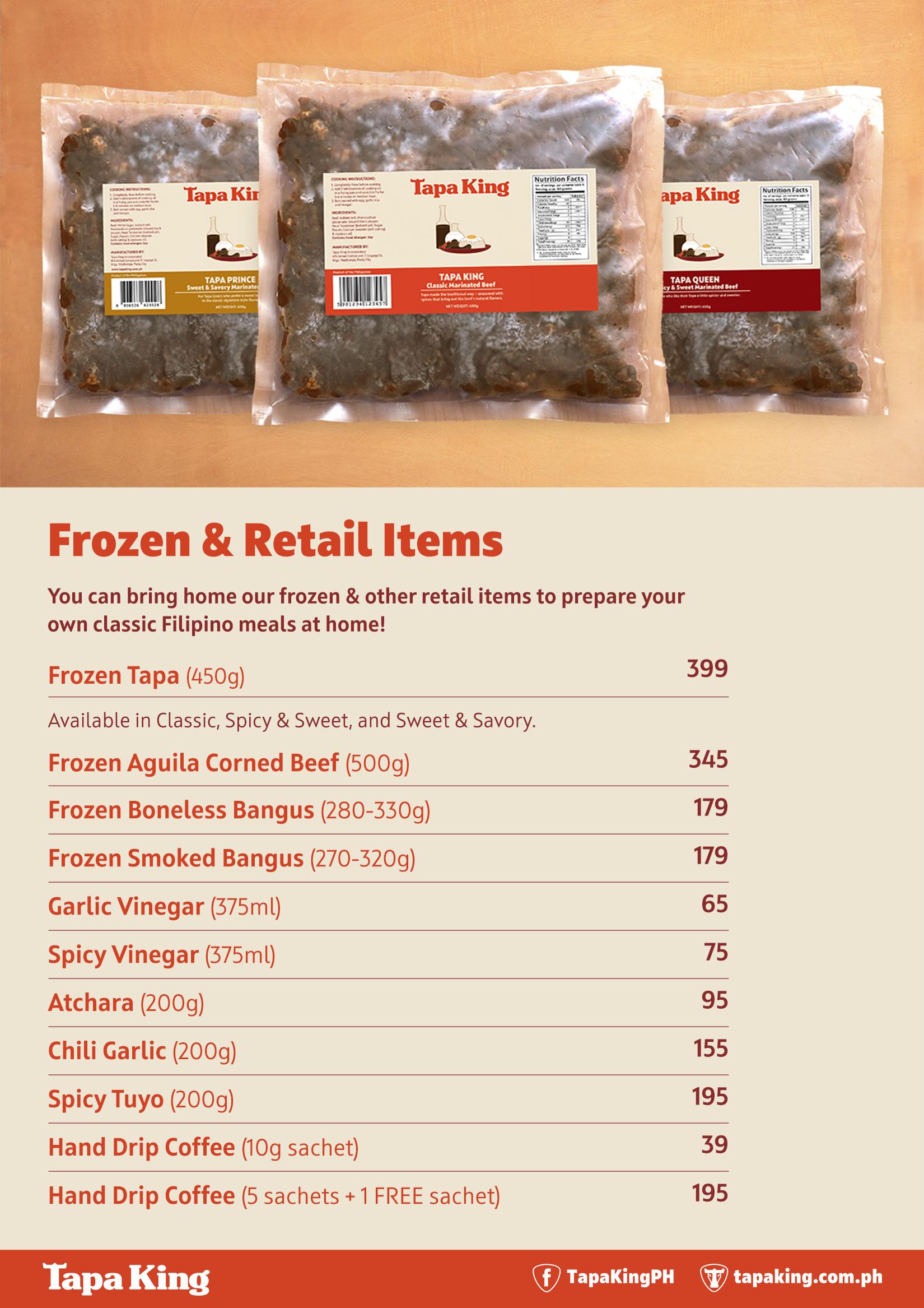 Tapa King Frozen & Retail Items