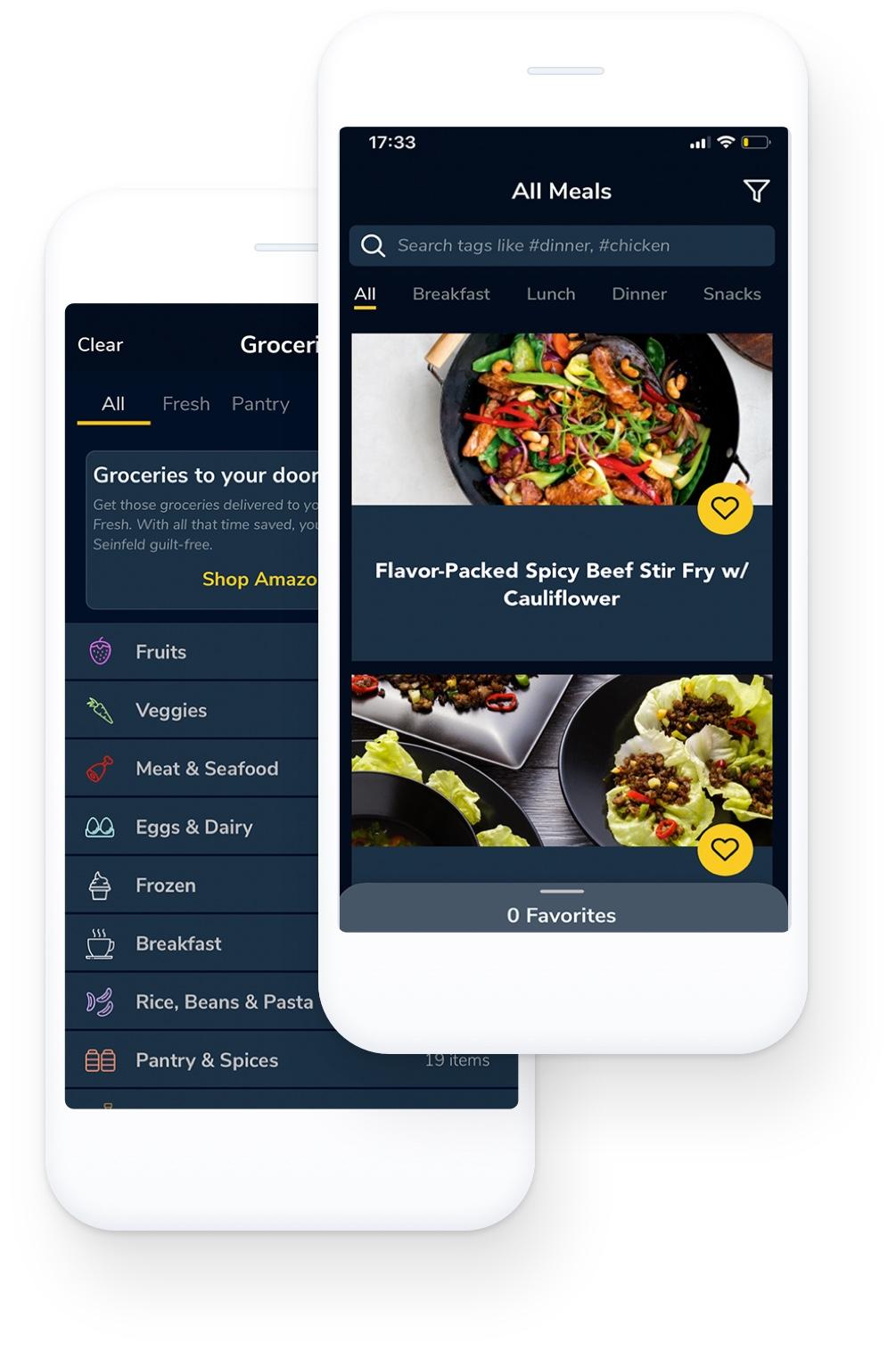 menuD mobile app view