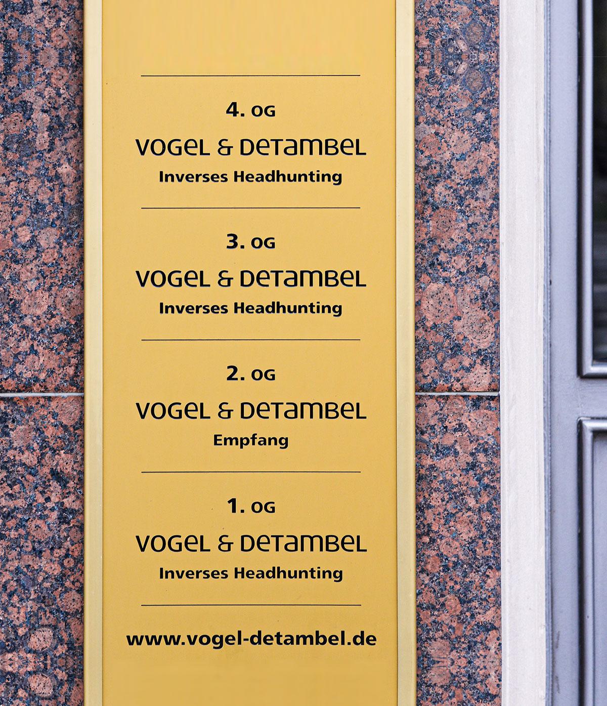 Türschild Vogel & Detambel