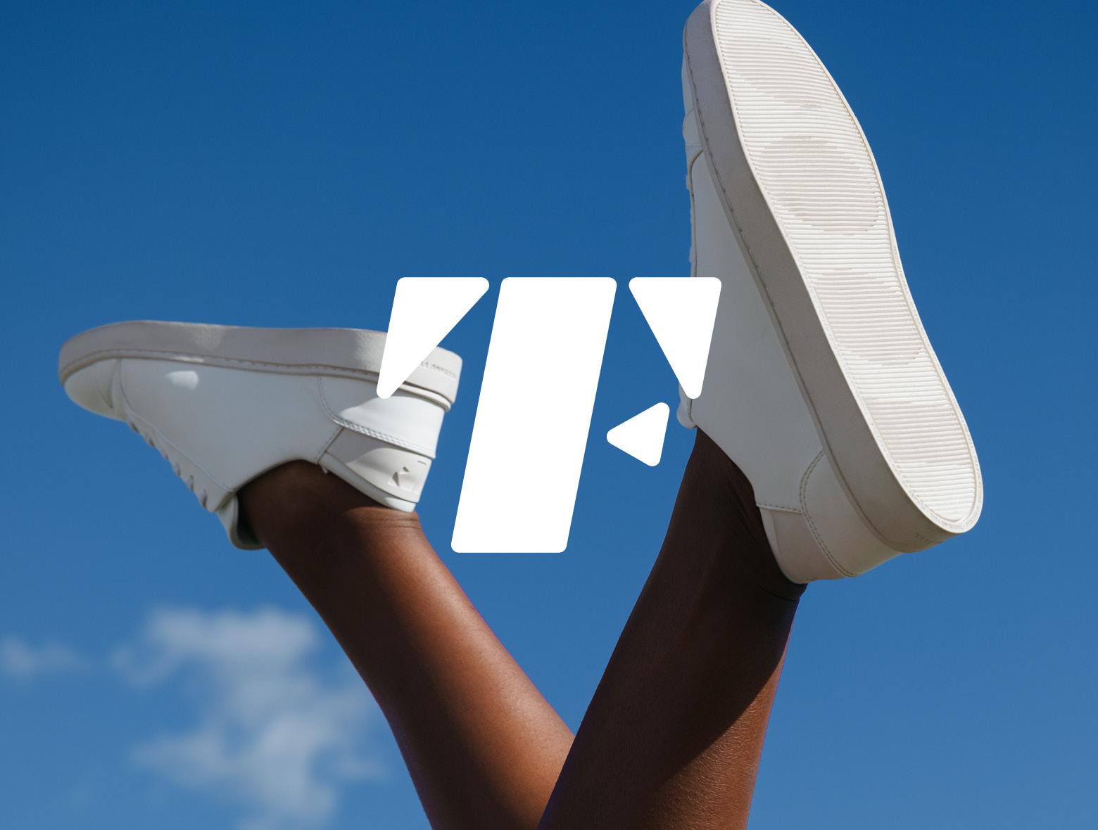 White shoes against a blue-sky