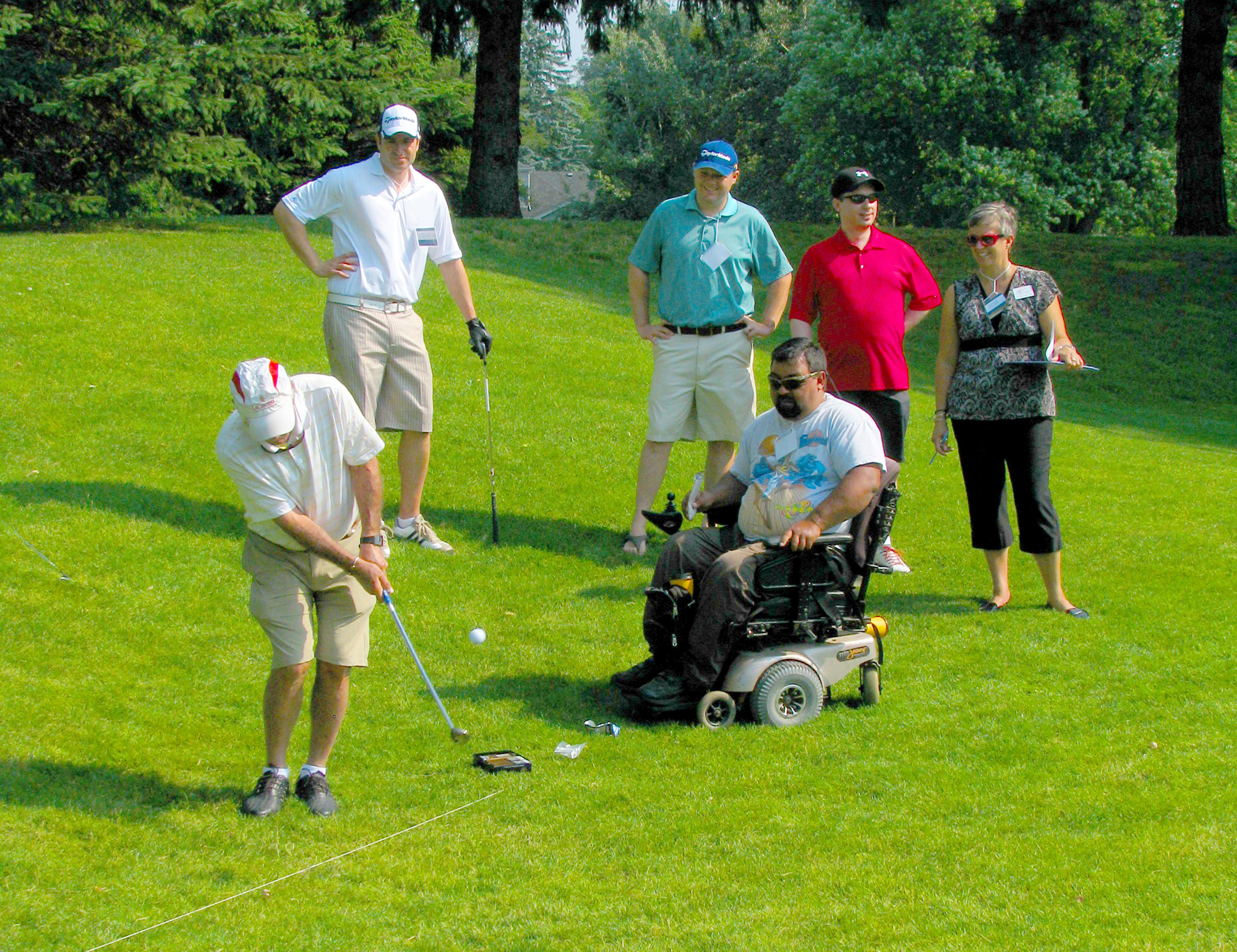 Golfers at a fundraising event