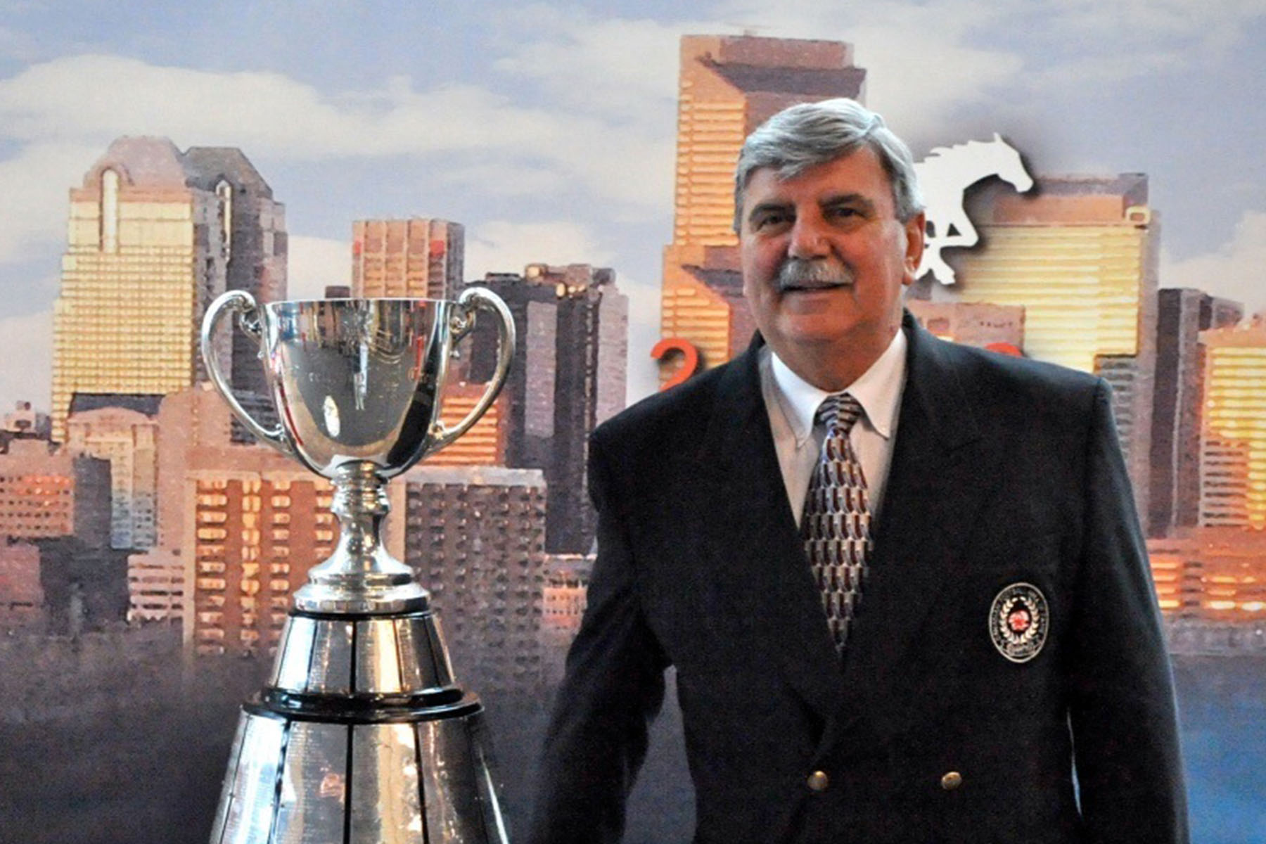 Dan Maloney with the Grey Cup