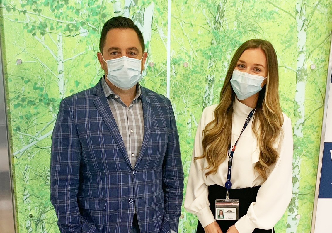 A photo of Lucas Milinovich and Julie Matthews in the Boris Clinic