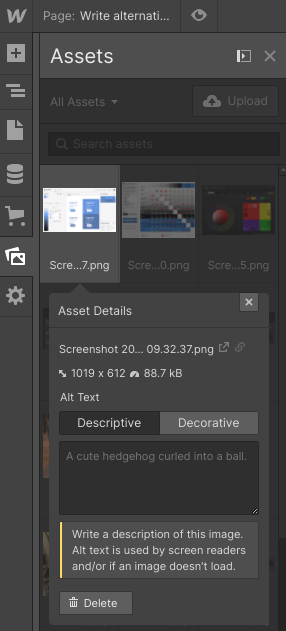Add alt text from assets panel.