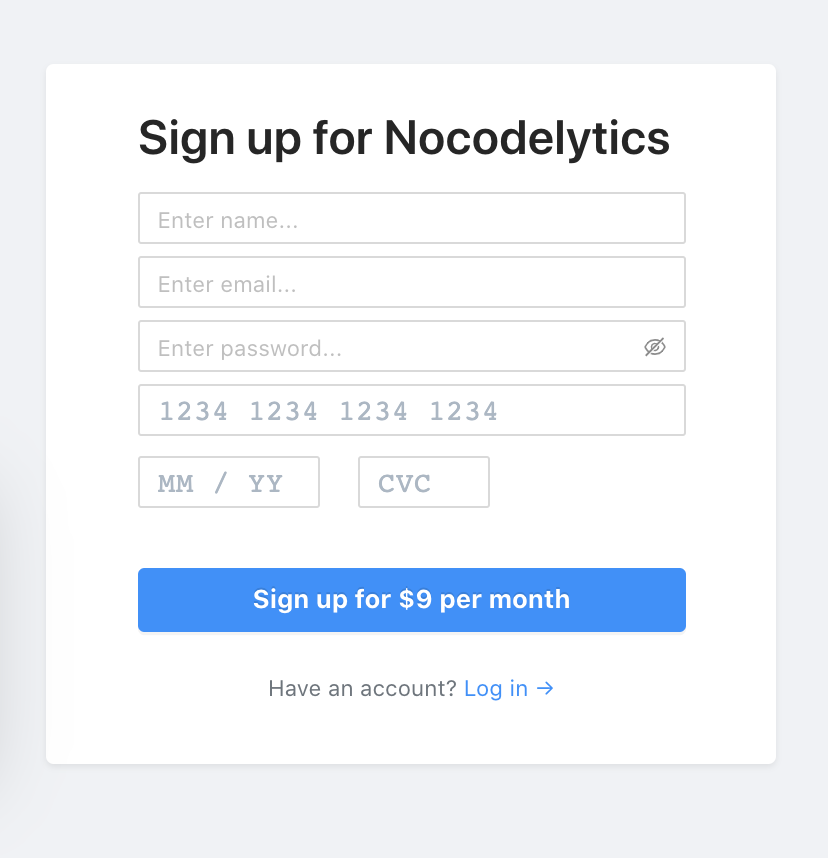 Nocodelytics sign up form with no labels