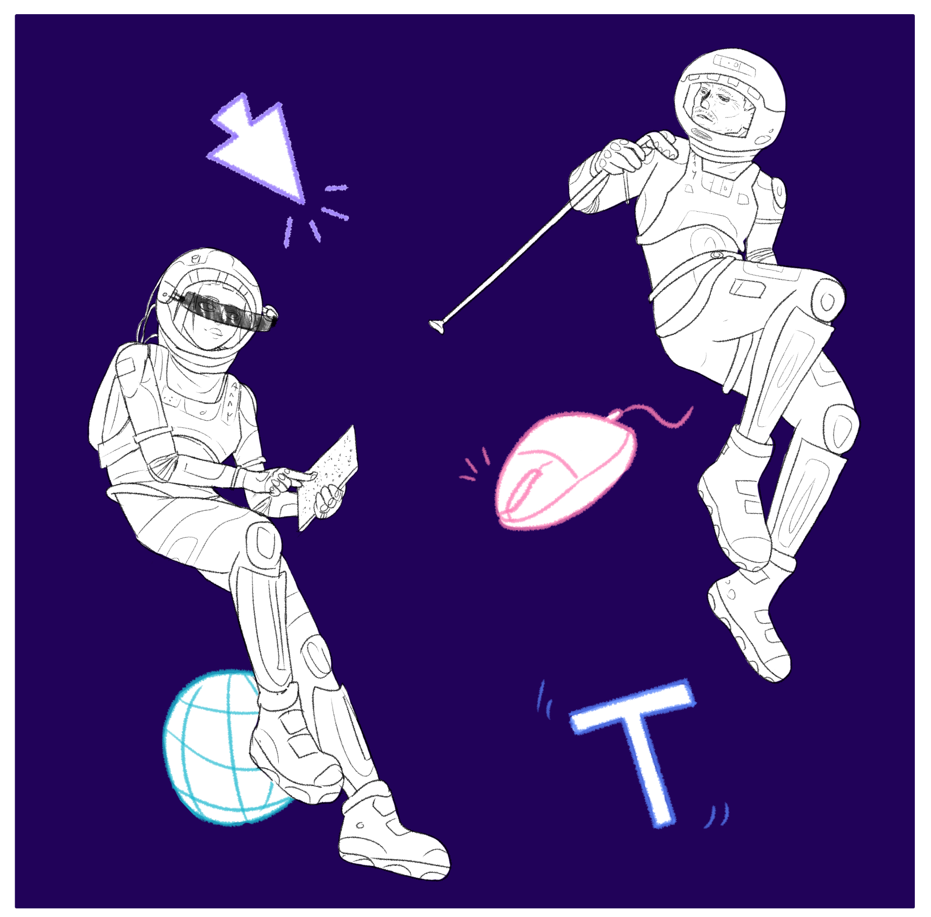 A blind woman and an old man with a stick in space suits with some design symbols