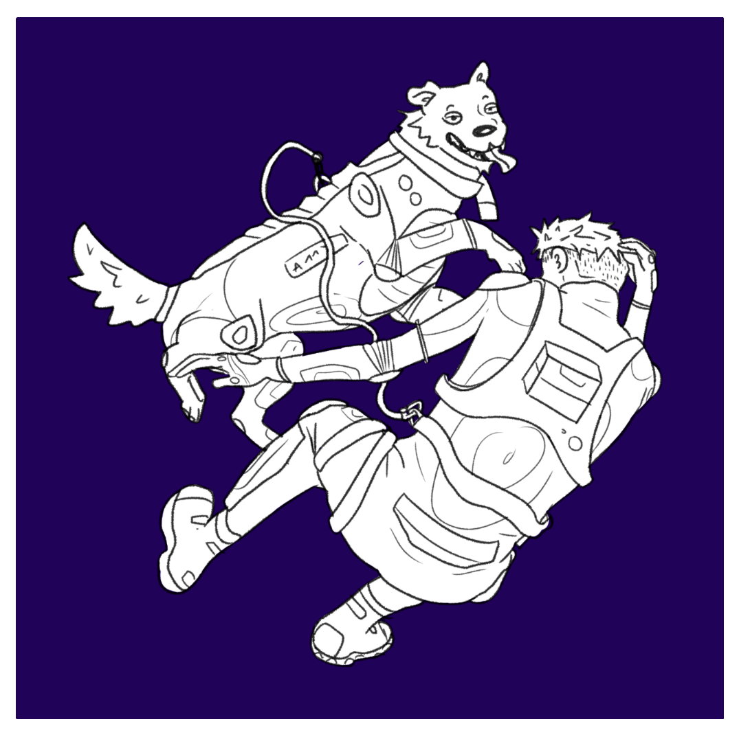 a man floating in space with a service dog.