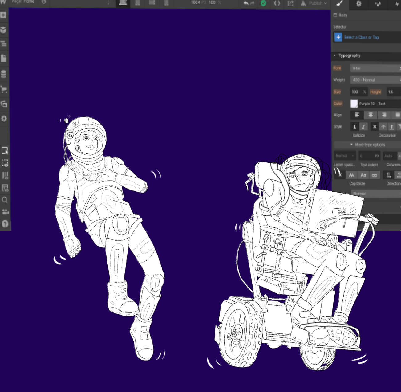 deaf man and man in a wheelchair floating in space