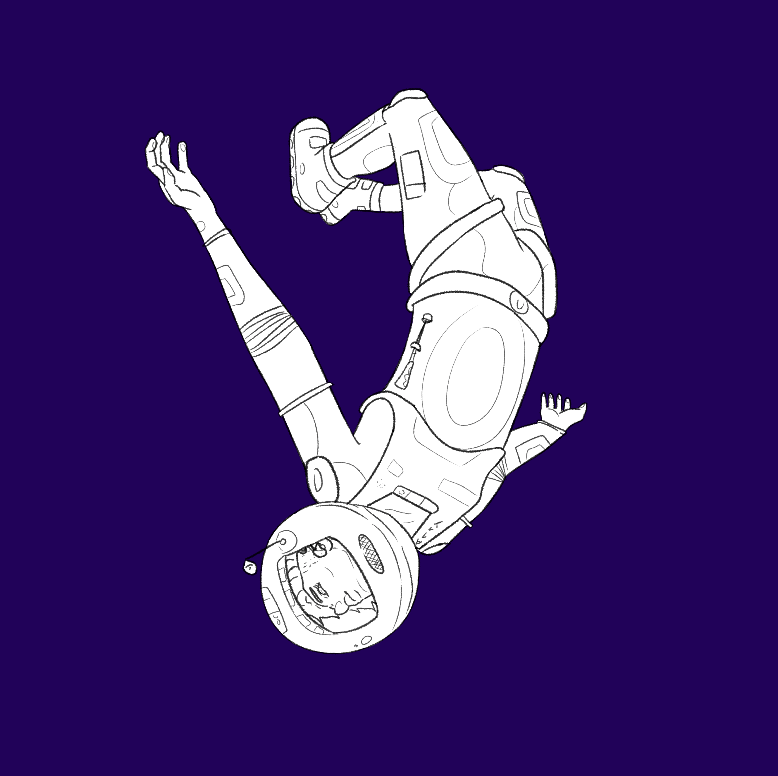 a deaf person floating in space.