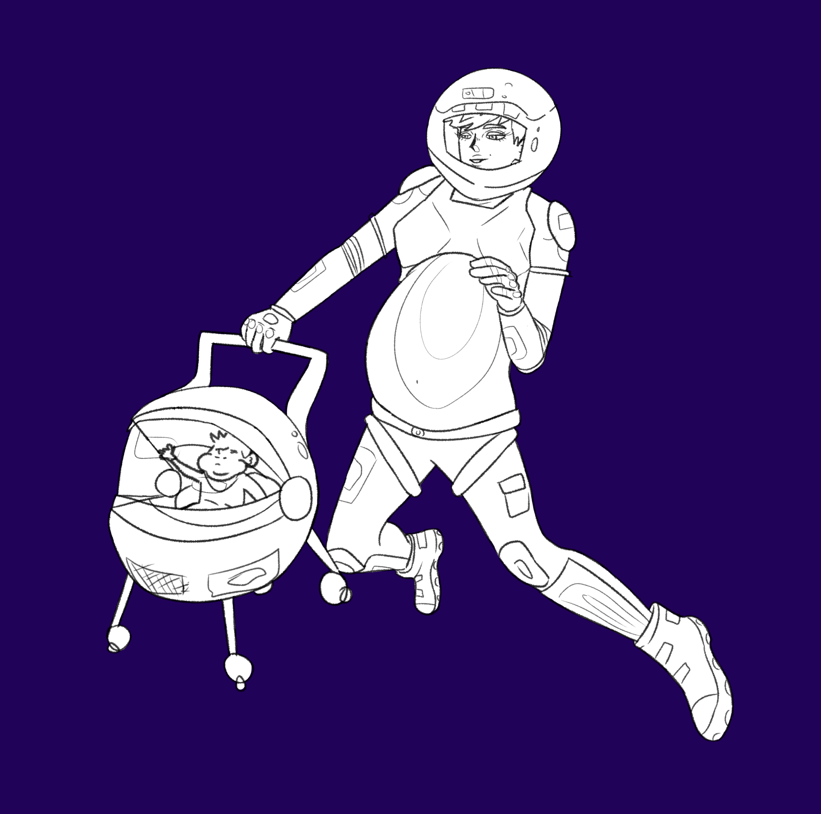a pregnant woman with a stroller and baby, space walking.