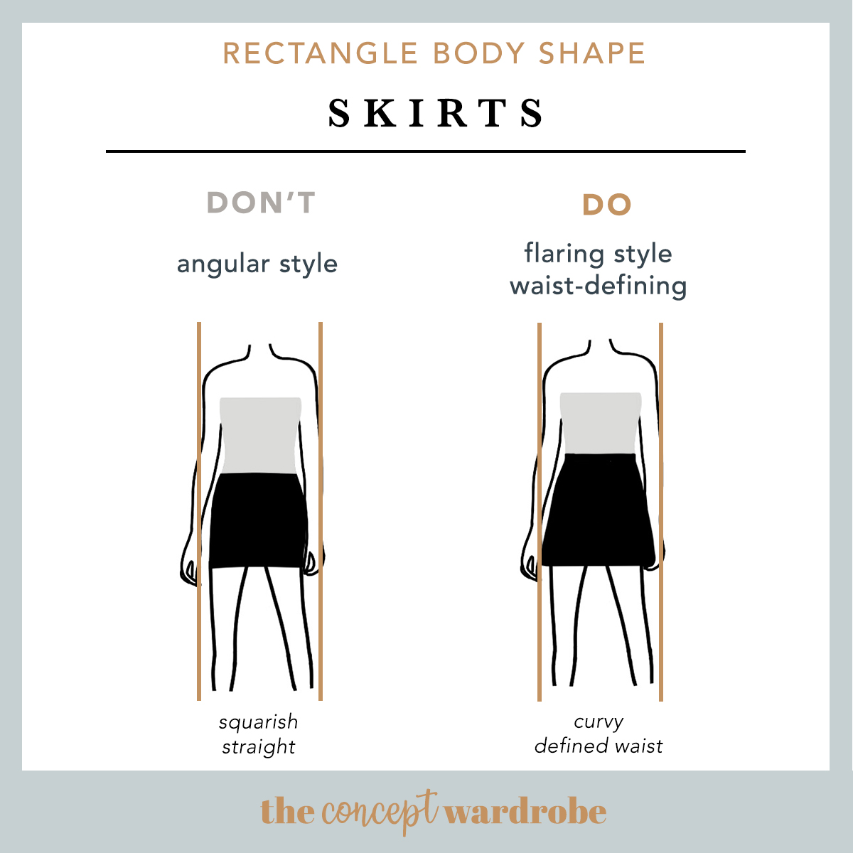 Rectangle Body Shape Skirts Do's and Don'ts - the concept wardrobe