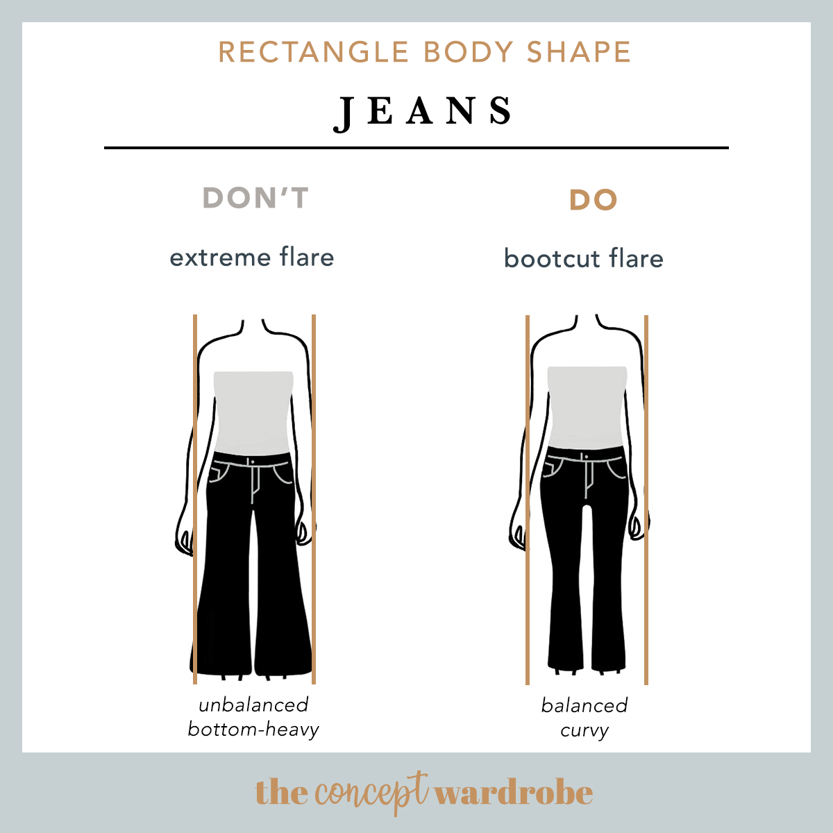 Rectangle Body Shape Jeans Do's and Don'ts - the concept wardrobe