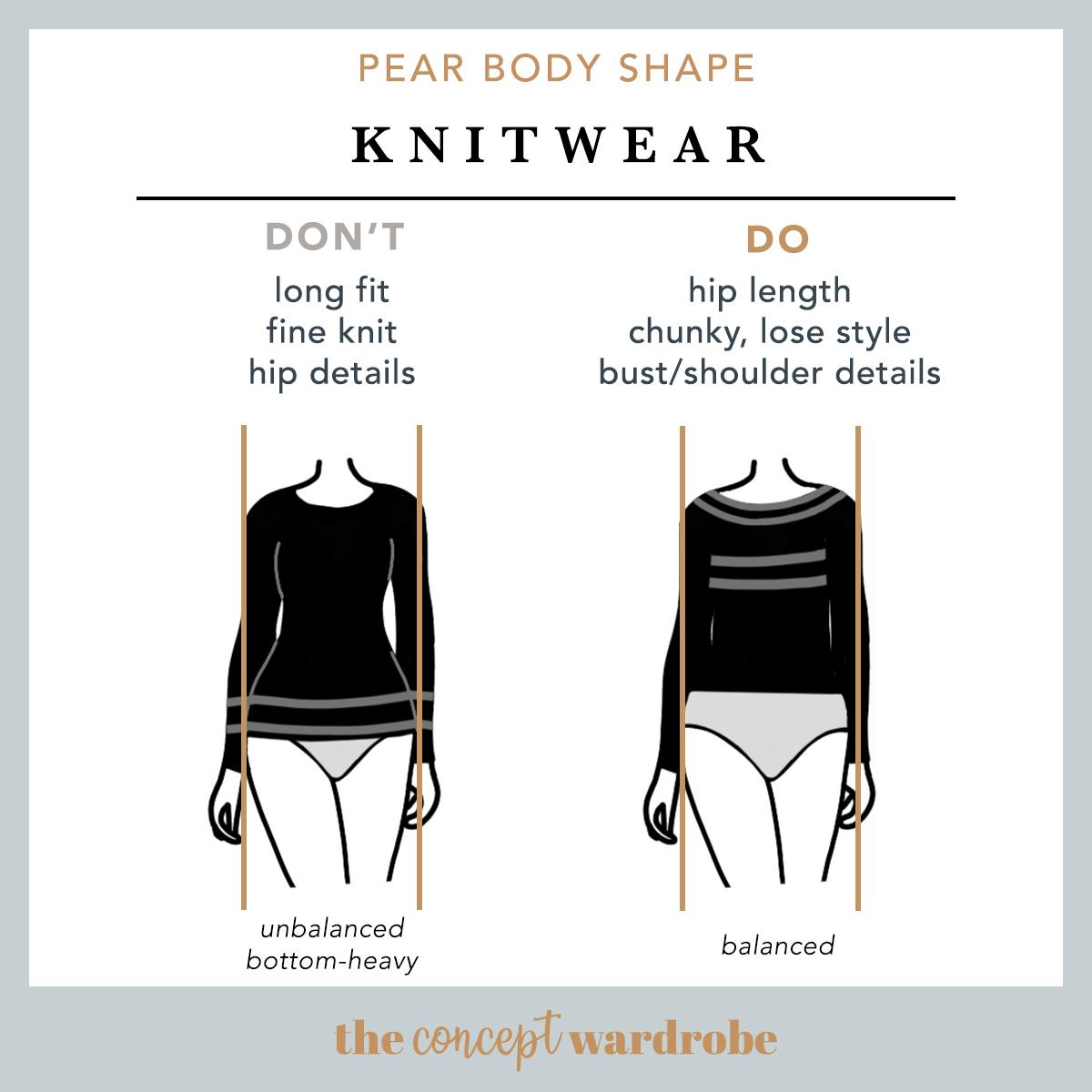 Pear Body Shape Knitwear Do's and Don'ts - the concept wardrobe